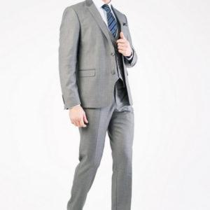 Мужской костюм тройка серый.