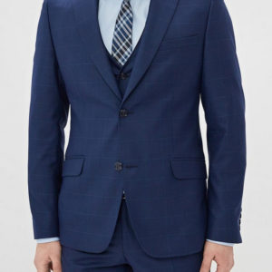 Мужской костюм темно синий в клетку тройка.