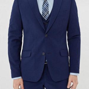 Мужской костюм темно синий тройка.