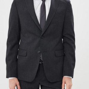 Мужской костюм в полоску серый.